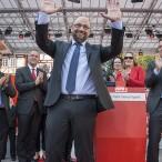 Jubel der Menge nach der Rede von Martin Schulz