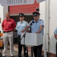Bürgermeister Dr. Thomas Gans, Stadtbrandmeister Klaus-Dieter Schöder, Ortsbrandmeister Bernd Wiedemann und Brandschutzabschnittsleiter Martin Dannhauer