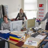 Provisorischer Arbeitsplatz im Rahthaus für die Job-Center-Mitarbeiterinnen    ---  Fotos: K.H.Bleß