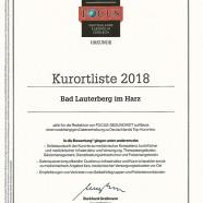 Urkunde Kurorte 2018